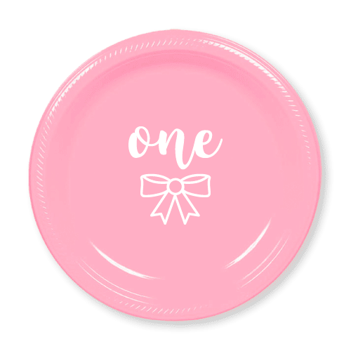 First Birthday Bow Plastic Plates