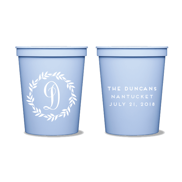 Monogrammed Leaf Wreath Party Cups