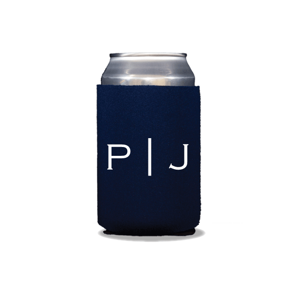 Vertical Block Monogram Can Coolers