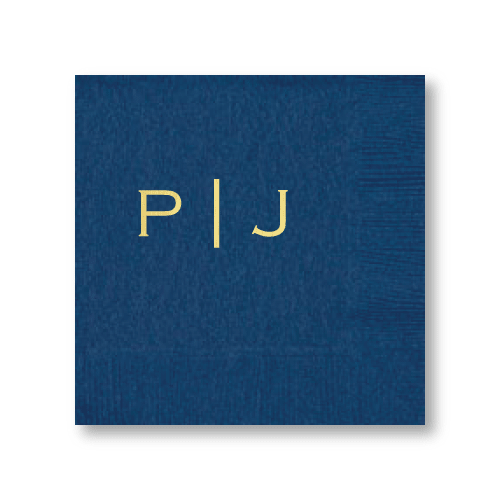 Vertical Block Monogram Cocktail Napkins
