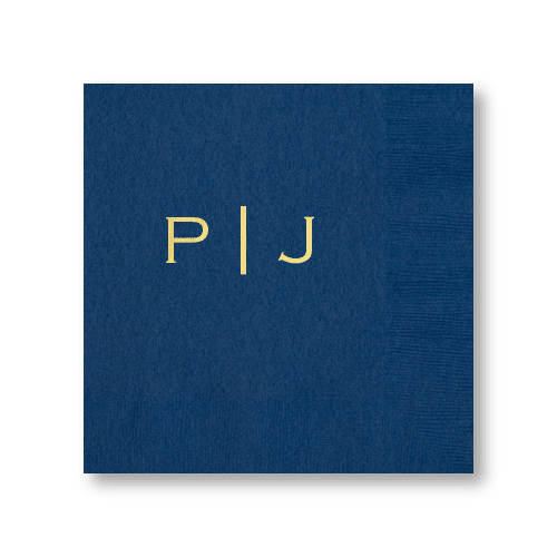 Vertical Block Monogram Dinner Napkins