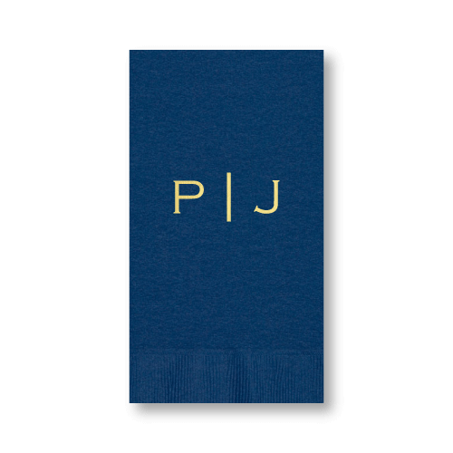 Vertical Block Monogram Guest Towels