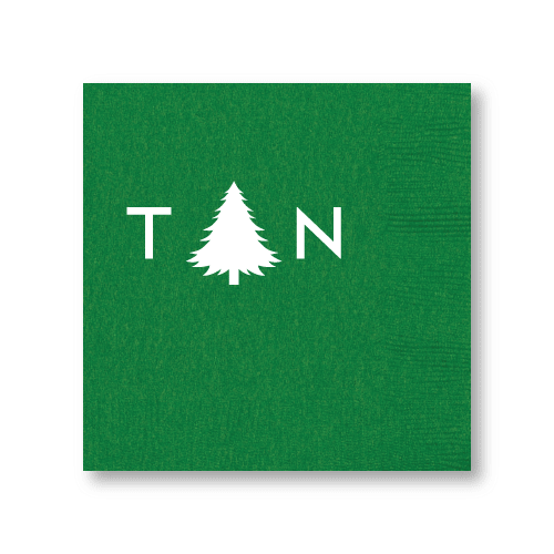 Monogrammed Pine Tree Cocktail Napkins