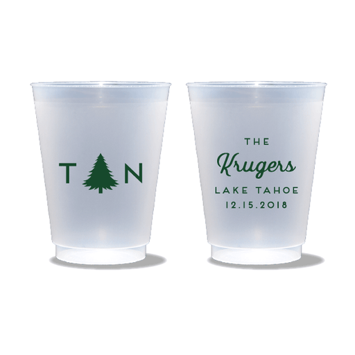 Monogrammed Pine Tree Frosted Cups