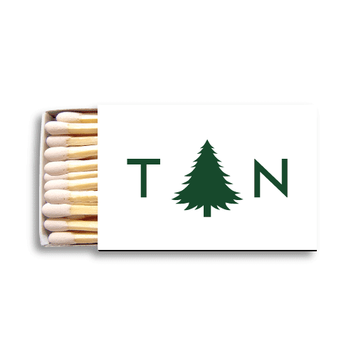 Monogrammed Pine Tree Matchboxes