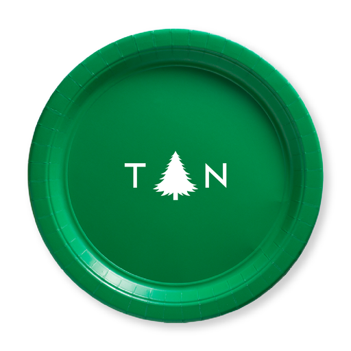 Monogrammed Pine Tree Paper Plates