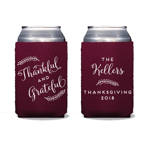 Thankful and Grateful Can Coolers