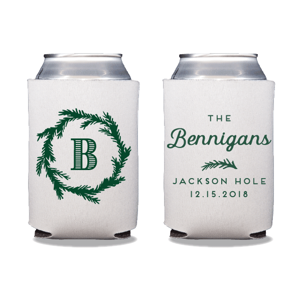 Festive Monogram Can Coolers