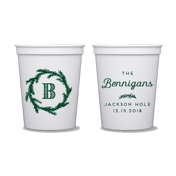 Festive Monogram Party Cups