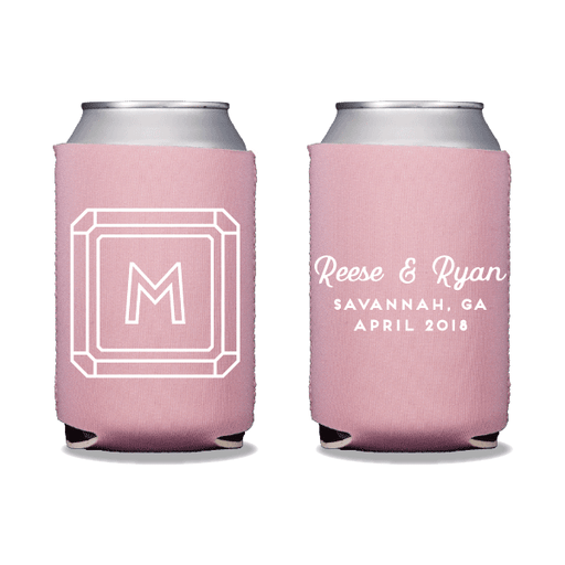 Gemstone Monogram Can Coolers