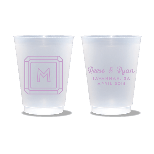 Gemstone Monogram Frosted Cups
