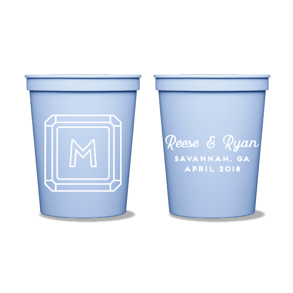 Gemstone Monogram Party Cups