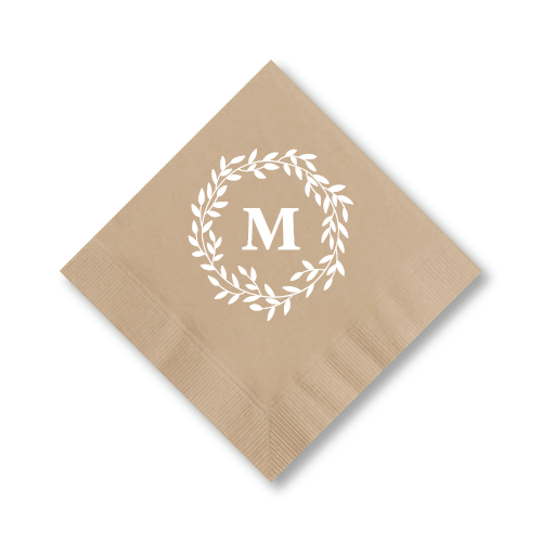 Olive Leaf Wreath Cocktail Napkins