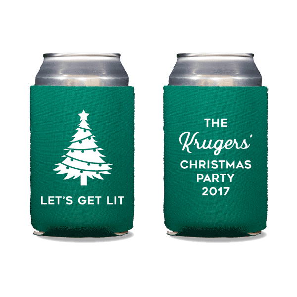 Let's Get Lit Christmas Can Coolers