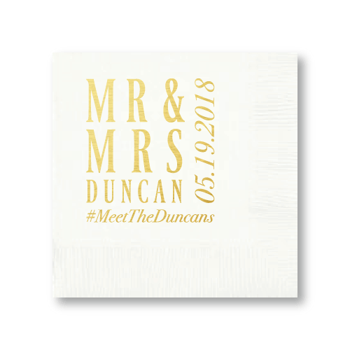 Mr & Mrs Block Cocktail Napkins
