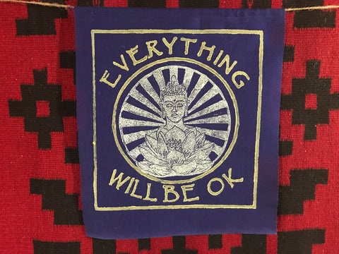 Everything Will Be Ok  shining Buddha blue banner  Ewbok
