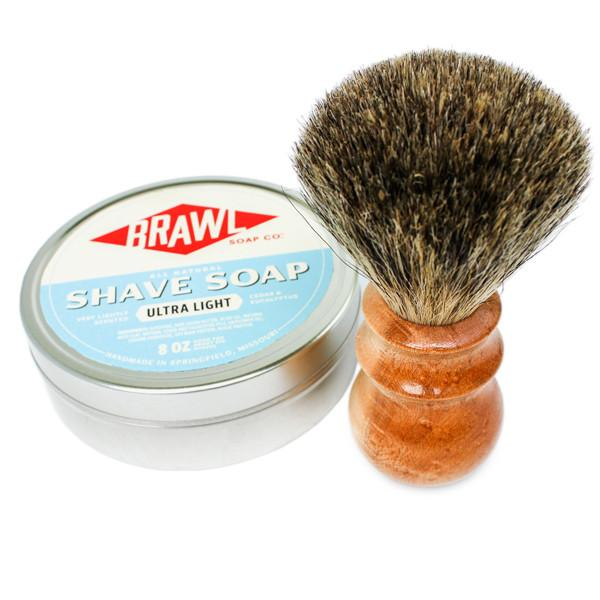 Walnut Pure Badger Heritage Shave Brush With No Scent Shave Soap Kit