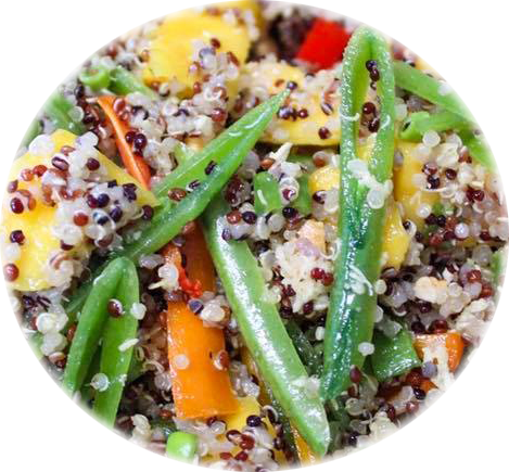 close up spicy quinoa rounded