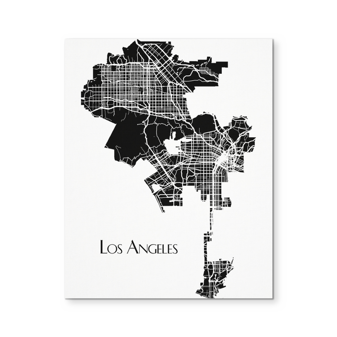 Los Angeles Map - Canvas Wall Art