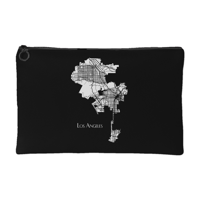 Los Angeles Map - Accessory Pouch [White on Black]
