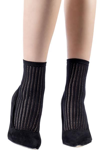 Vertical Stripes Openwork Black Ankle Socks