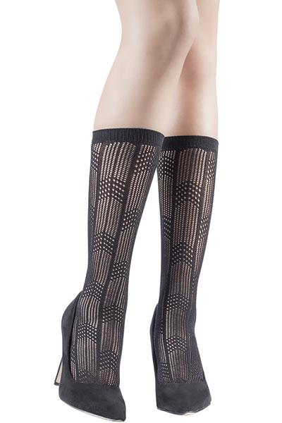 Openwork Black Knee High Socks