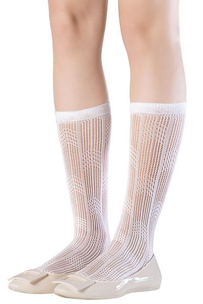 Openwork Ivory Knee High Socks