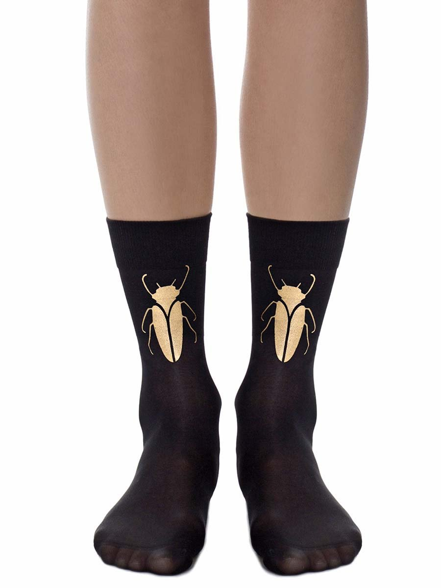 Gold Beetle Sheer Black Tights