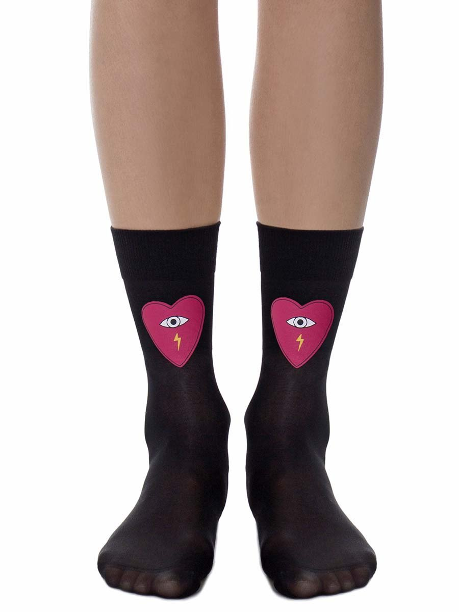 Be Still My Heart Sheer Black Socks