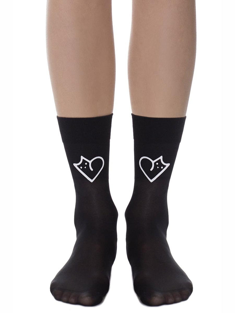 The Love Cat Black Sheer Socks