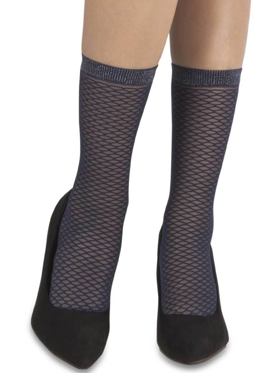 Mock Fishnet Navy Socks