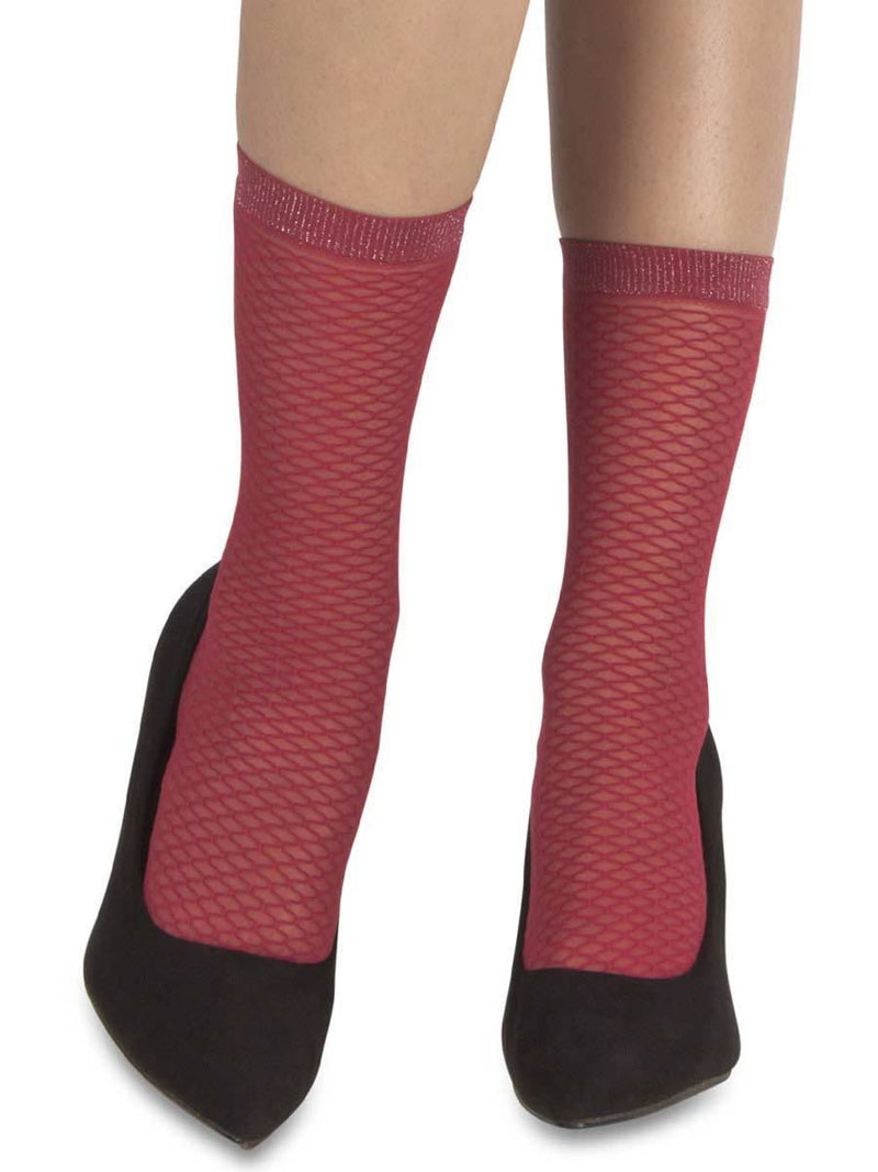 Mock Fishnet Red Socks
