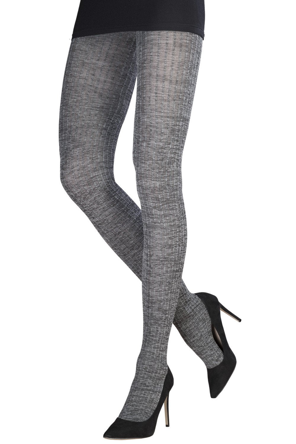 Heathered Vertical Stripes In Relief Tights