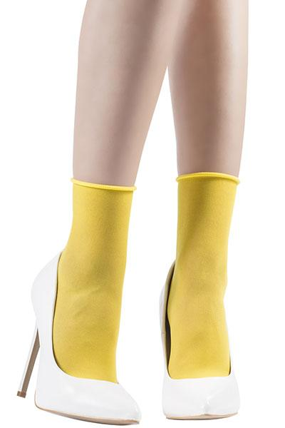 Basic Micromesh Lemon Yellow Ankle Socks