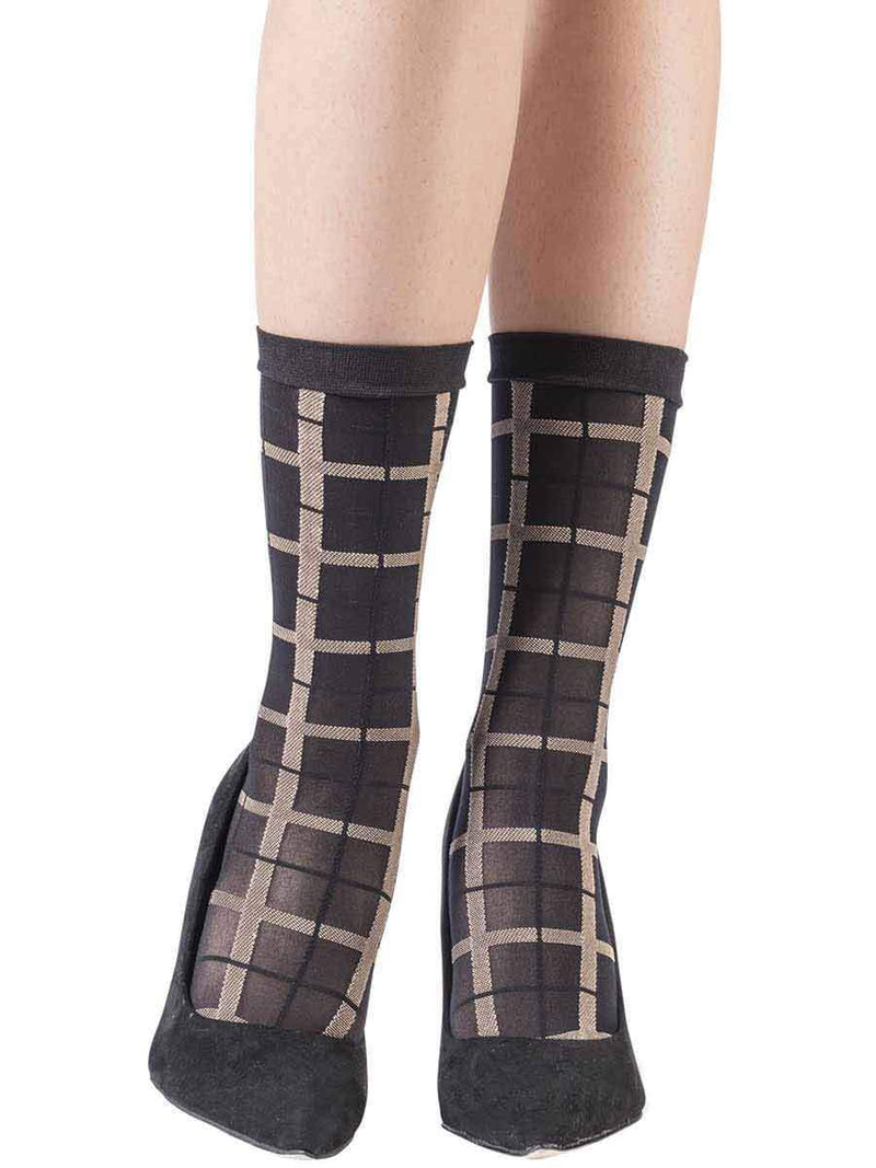 3 Dimensions Plaid Black Socks