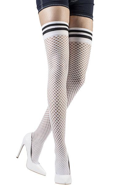 Fishnet and Striped Over the Knee Socks