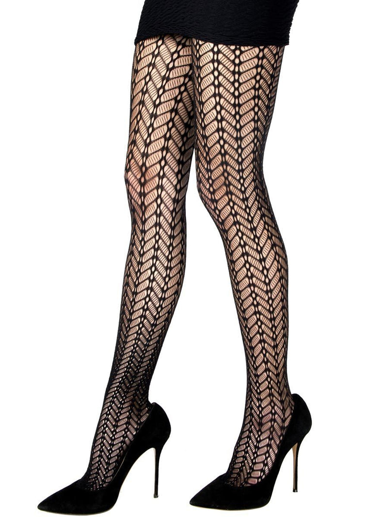 CHEVRON NET TIGHTS BLACK