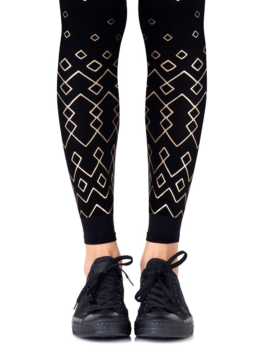 Diamonds Are Forever Black Footless Tights
