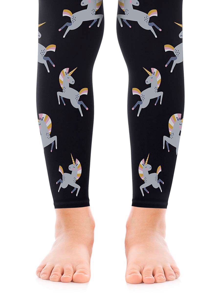 Unicorn Girls Black Footless Tights