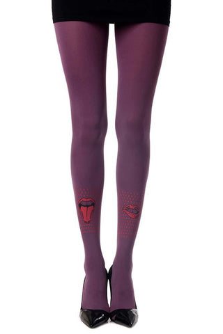Violet Naughty Girl Print Opaque Tights