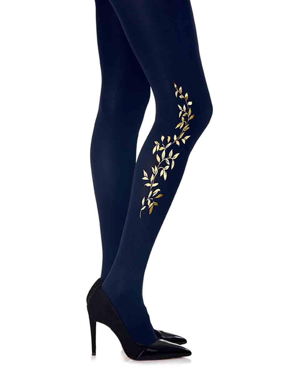 Royal Leaf Navy Tights