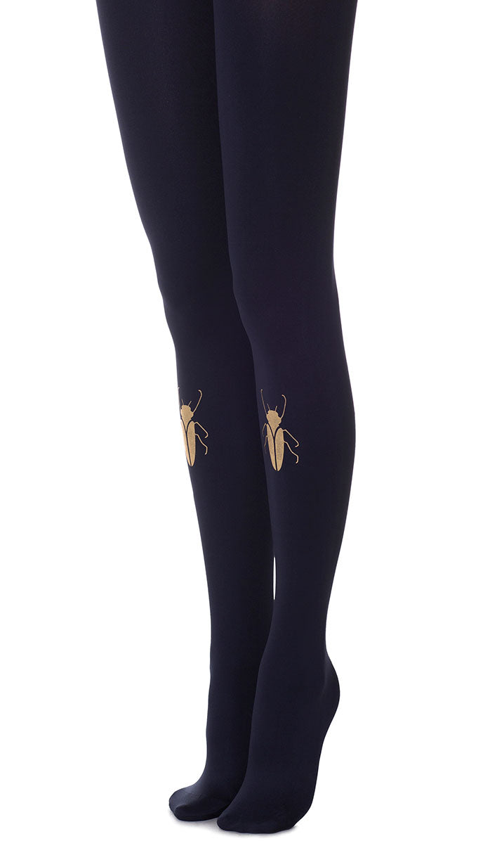 Gold Beetle Navy Tights