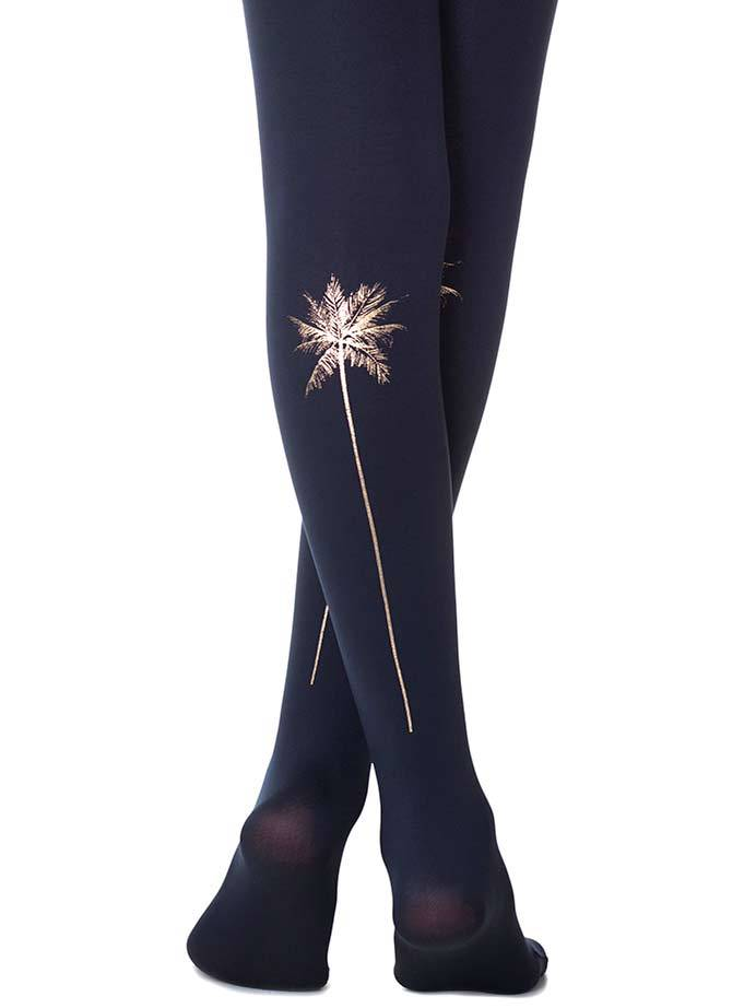 Palm Trees Navy Tights