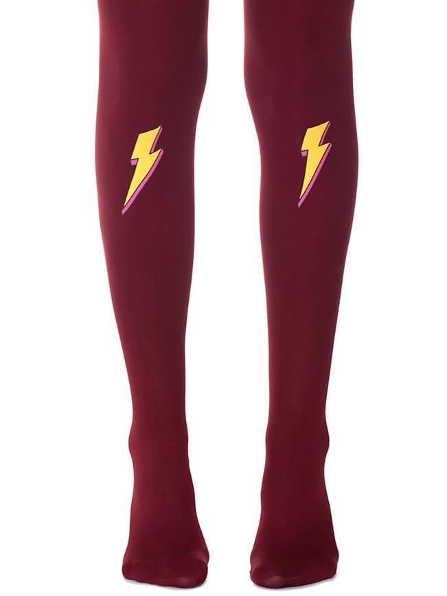 Struck by Lightning Burgundy Tights