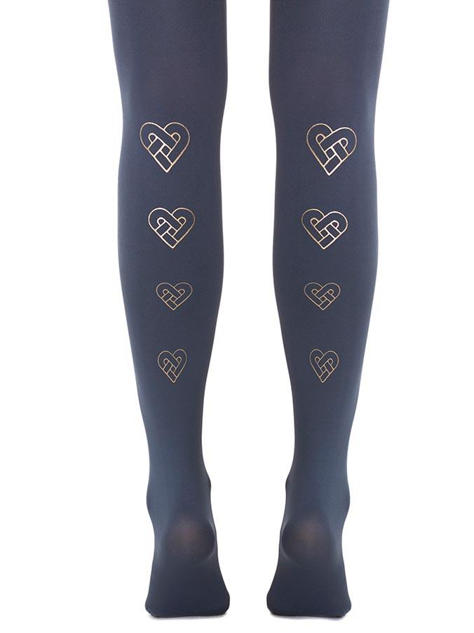 Love You, Love You Knot Midnight Blue Tights