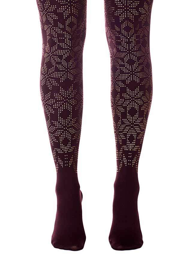 Lace Flower Purple Tights