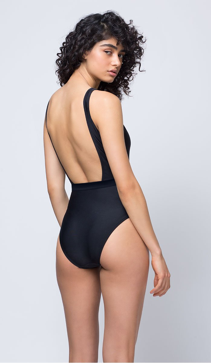 Black Low-cut Swimsuit