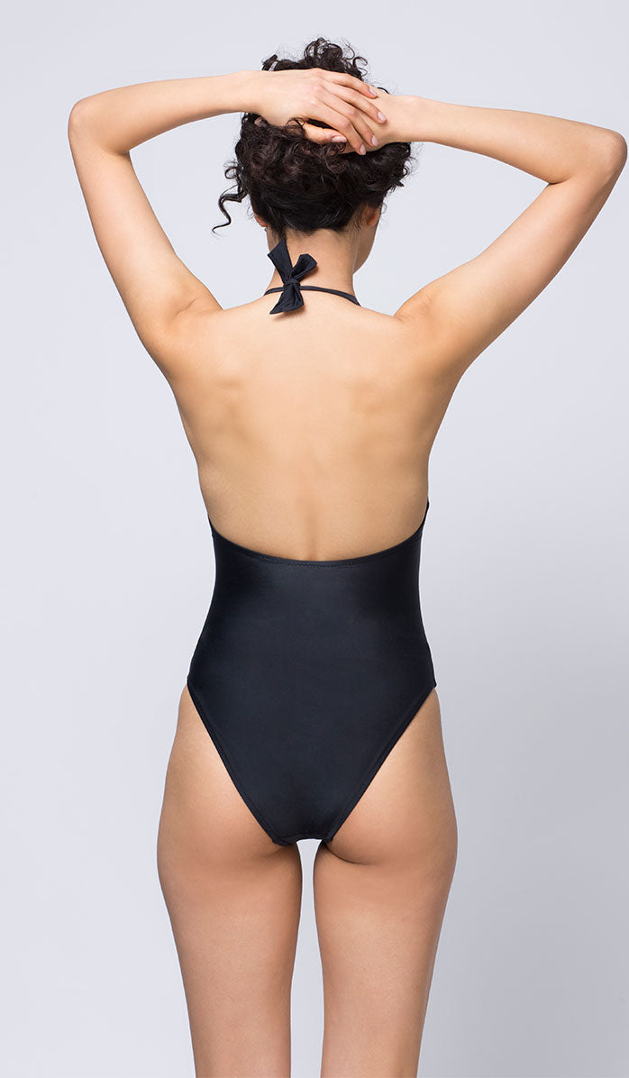 Black Halter Neck One-piece Swimsuit