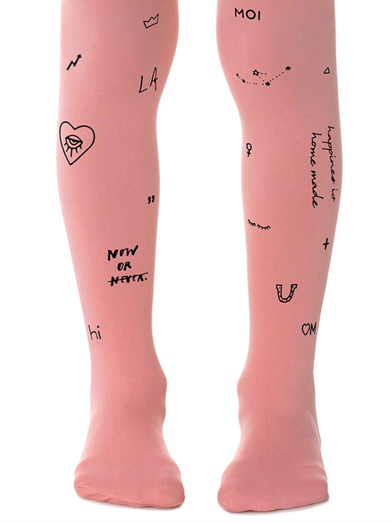 Mix Tattoo Pink Girls Tights