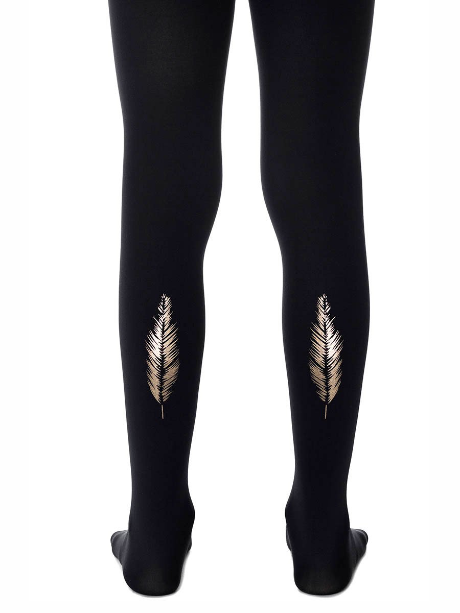 Gold Feather Black Girls Tights